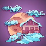Origamy house with moon on night sky. Vector Royalty Free Stock Photos