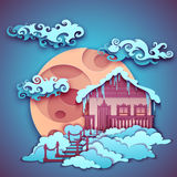 Origamy house with moon on night sky. Vector Stock Photography
