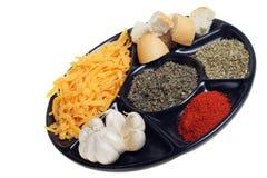 Origano della paprica dell'aglio del formaggio dei prodotti Immagini Stock Libere da Diritti