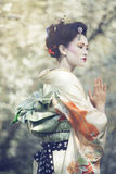 Origato. Attractive geisha walking outdooors against blossoming tree stock image