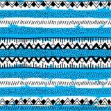 Origem étnica brilhante sem emenda na tira do preto, a azul e a branca Imagem de Stock