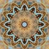 Origem étnica redonda azul-castanha decorativa no quadrado Imagem de Stock