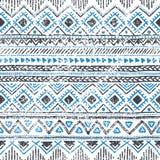 Origem étnica sem emenda em cores azuis e brancas Foto de Stock Royalty Free