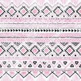 Origem étnica sem emenda em cores cor-de-rosa, brancas e pretas Imagens de Stock