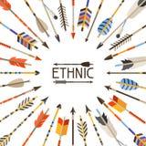 Origen étnico con las flechas indias en natural ilustración del vector