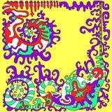 Origen étnico psicodélico colorido en el estilo azteca isola libre illustration