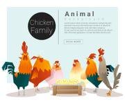 Origen familiar animal lindo con los pollos ilustración del vector