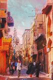 Origianl oil painting. Of egypt cairo market place Stock Photography