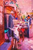 Origianl oil painting. Of egypt cairo market place Royalty Free Stock Images