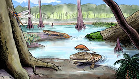 Origin of the amphibians, devonian Stock Photography