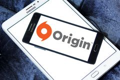 Origin digital distribution software logo. Logo of Origin digital distribution software on samsung mobile. Origin is an online gaming, digital distribution and Royalty Free Stock Photos
