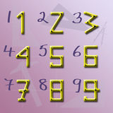 Origin of Numbers shape. Arabic numbers originally shaped by number of angles royalty free illustration