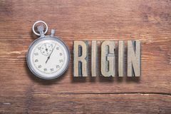 Origin watch wooden stock photography