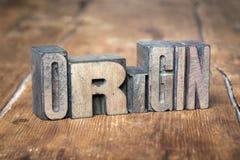 Origin word wood royalty free stock images
