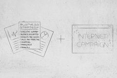 Originais da estratégia empresarial mais o messag do PNF-acima da campanha do Internet Fotos de Stock