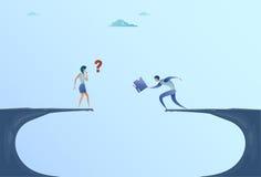 Originais de And Businesswoman Giving do homem de negócios sobre o conceito dos trabalhos de equipa da ajuda da cooperação de Cli ilustração do vetor