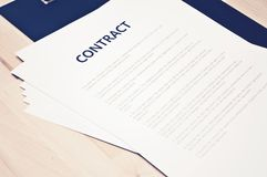 Originais do contrato: Conceito do negócio, ainda vida Imagem de Stock