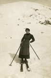 Original 1900 antique photo - skier Stock Images