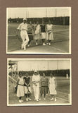 Original 1915 antique photo - people playing tennis stock photo