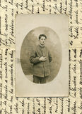 Original 1918 antique photo-military man. This sequence is taken in the north of Italy in 1918. A young man doing his national service during the fascist age royalty free stock photography
