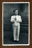 Original 1942 antique photo - first communion Stock Photo