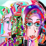 Original abstract digital painting of human face, colorful compo Royalty Free Stock Images