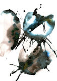 Original abstract watercolor black and white painting on a white background. Stock Image