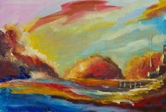 Original- abstrakt begreppplaneter för olje- målning impressionism Arkivfoto