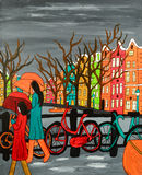 Rain In Old Amsterdam. An original acrylic painting on canvas. A tranquil scene of a rainy evening in old Amsterdam, Holland. Original canvas dimensions 40cm (w stock illustration