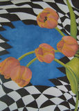 Original Acrylic Painting - Tulips. Original acrylic painting of orange Tulips on a checkerboard background Stock Images