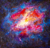 Original acrylic space, Universe Painting on canvas - colorful Starry sky, galaxy, infinity, blue, purple hand made painting royalty free illustration
