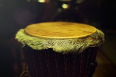 Original african djembe drum with leather lamina with beautiful Royalty Free Stock Photography