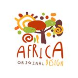 Original african savannah landscape logo Stock Photo