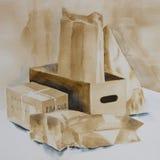 Original- akvarell, en samling av askar och paket Royaltyfri Bild