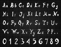 Original alphabet letters and numbers Stock Photos