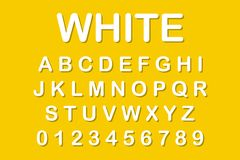 The original alphabet. White letters on yellow background stock illustration