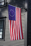 Original American Flag. Betsy Ross Flag on an historic home in Massachusetts Royalty Free Stock Photos
