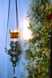 Original and ancient lamp in a small Orthodox church in Paros stock photo