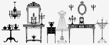 Original antique furniture collection Royalty Free Stock Photo
