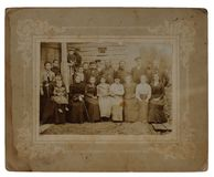Original antique photo of a group of 22. Nartas, Russian Empire - 1903: Original antique photo of a techers of an agricultural school Royalty Free Stock Photos