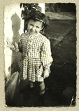 Original antique photo - young girl. This Antique photo is taken in Italy in 1960, young girl Stock Photography