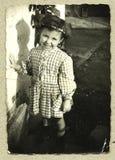 Original antique photo - young girl Stock Photography