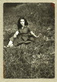 Original antique photo - young girl Stock Images
