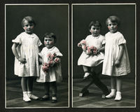Original antique photo - young girls with flowers. This Antique photo is taken in Italy probably in 1910. This is a black & white image with a touch of pink royalty free stock images