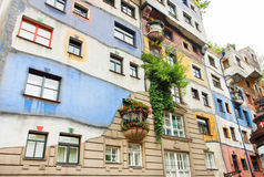 Original architectural project of building with concept of Austrian artist Hundertwasser Royalty Free Stock Photo