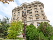The original architecture of the Soviet period in Bucharest, Romania stock photography