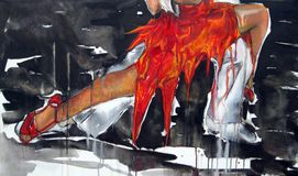 Original artwork of Argentine tango Feet of the dancers tied up Buenos Aires, Argentina. Original artwork of Argentine tango oil acrilic canvas Feet of the Stock Image