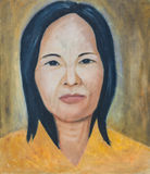 Original artwork oil painting. On stretched canvas,woman on yellow Royalty Free Stock Images