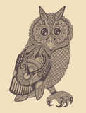 Original artwork of owl, ink hand drawing in Stock Images
