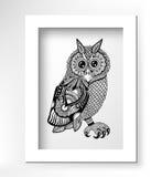 Original artwork of owl, ink hand drawing in Stock Image